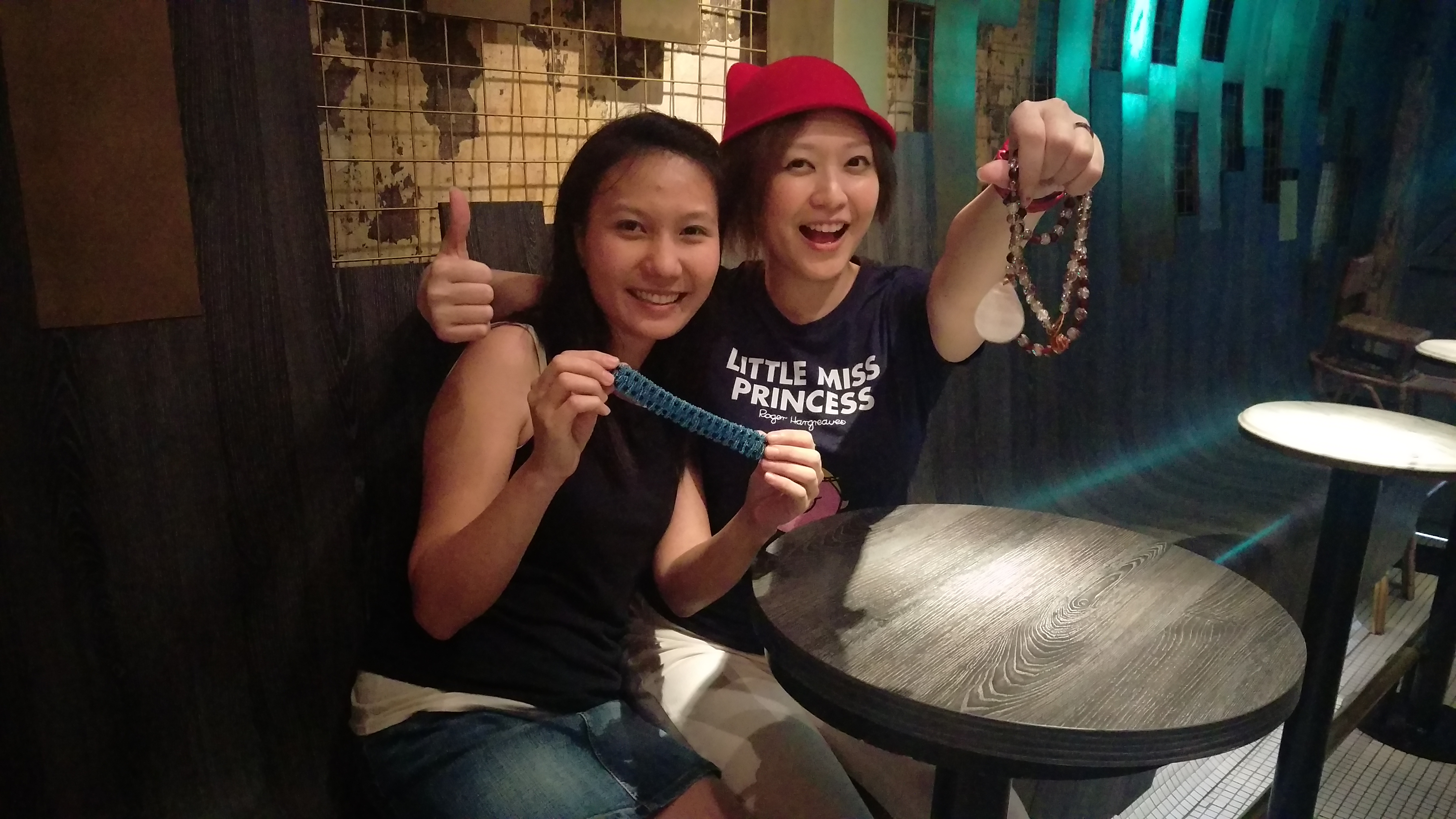 Ann and yours truly with our handmade jewelry